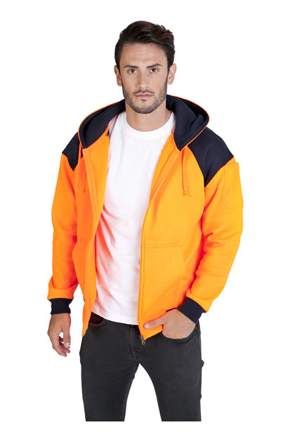 F303HZW Men's Contrast Hi Vis Fleece Zip Hoodie