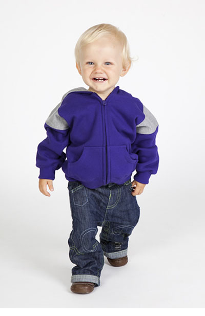 F335ZZ Kids Shoulder Contrast Panel Hoodie with Zipper