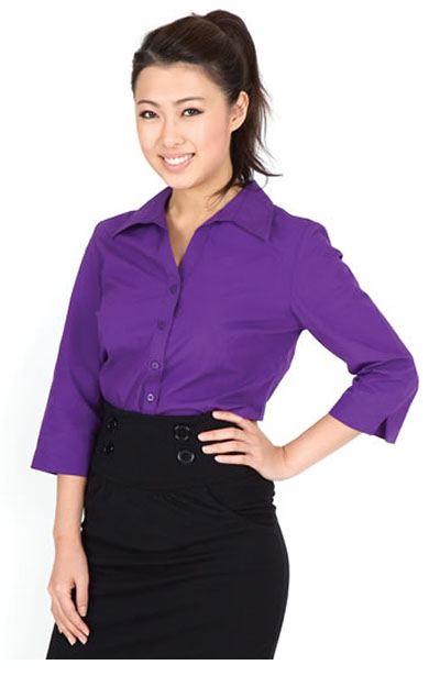 S004FQ Ladies 3/4 Sleeve Shirt