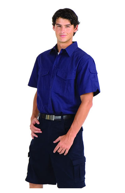 S005MS Cotton Drill Work Short Sleeve Shirt