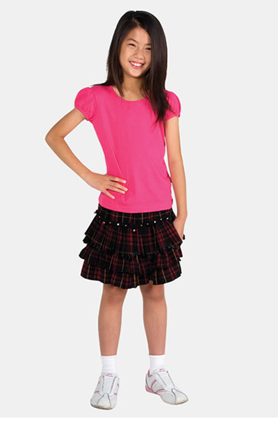 T301GL Girls Short Puff Sleeve Tee