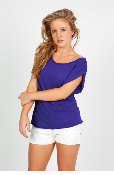 T915LD Ladies Wide and Distressed Rib Neck Tee