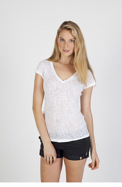 T931LD Ladies Burnout V-Neck T-Shirt