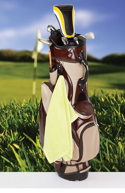 TW001G Bamboo Golf Towel with Plastic Hook